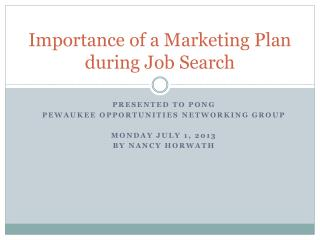 Importance of a Marketing Plan during Job Search