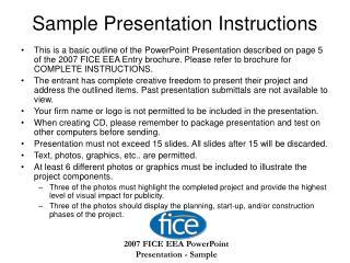 Sample Presentation Instructions