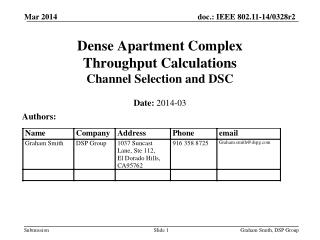 Dense Apartment Complex Throughput  Calculations Channel Selection and DSC