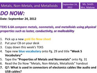 Metals, Non-Metals, and Metalloids