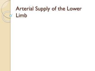 Arterial Supply of the Lower Limb