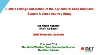 Climate Change Adaptation of the Agricultural Seed Business  Sector: A  Cross-country Study