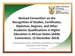 Presentation to the Parliamentary Portfolio Committee on Higher Education and Training