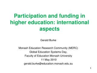 Participation and funding in higher education: international aspects