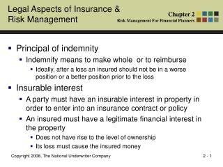 Legal Aspects of Insurance & Risk Management
