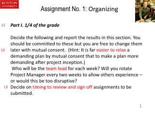 Assignment No. 1:  Organizing