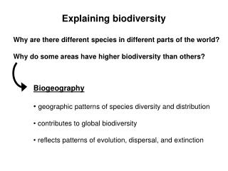 Why are there different species in different parts of the world  Why do some areas have higher biodiversity than others