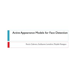 Active  Appearance Models for Face Detection