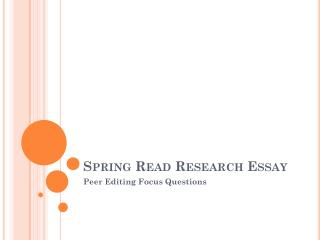 Spring Read Research Essay