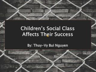Children's  Social Class  Affects  Their Success By:  Thuy-Vy  Bui Nguyen