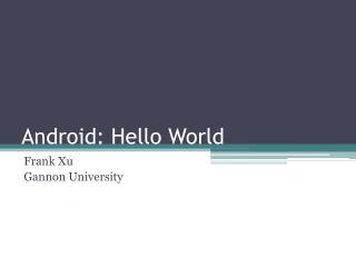 Android: Hello World