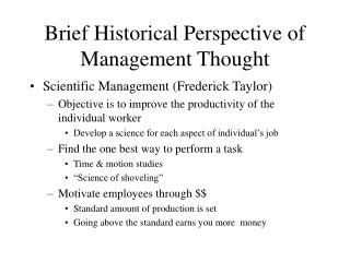 Brief Historical Perspective of Management Thought