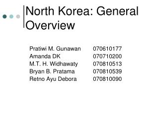 North Korea: General Overview