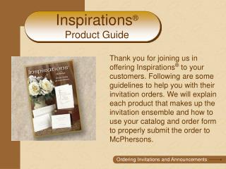 Inspirations  Product Guide