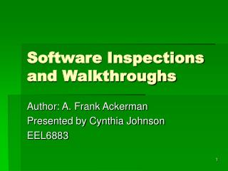 Software Inspections and Walkthroughs