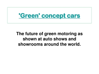 'Green' concept cars