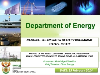 Solar Water Heating Update  Presentation to the  Select  Committee on Economic Development    09 November 2010