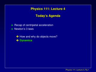 Physics 111: Lecture 4 Today's Agenda