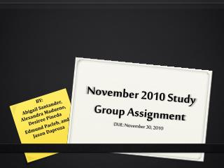 November 2010 Study Group Assignment DUE: November 30, 2010