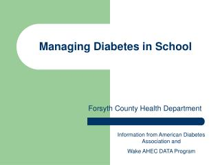 Managing Diabetes in School