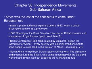 Chapter 30: Independence Movements Sub-Saharan Africa