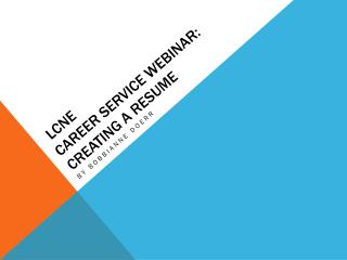 LCNe Career Service webinar:  Creating a Resume