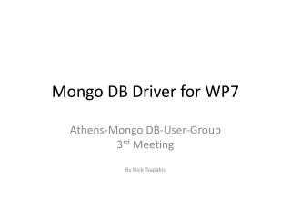 Mongo DB Driver for WP7