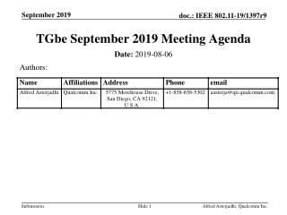 TGbe September 2019 Meeting Agenda