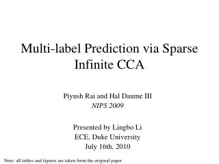Multi-label Prediction via Sparse Infinite CCA
