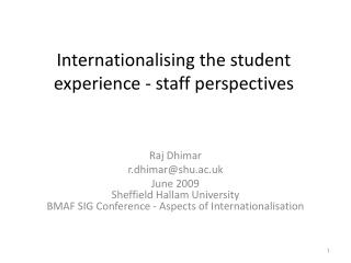 Internationalising the student  experience - staff perspectives