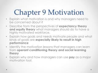 Chapter 9 Motivation