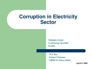 Corruption in Electricity Sector