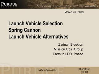 Launch Vehicle Selection Spring Cannon  Launch Vehicle Alternatives