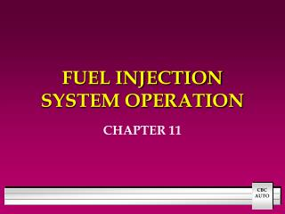 FUEL INJECTION SYSTEM OPERATION
