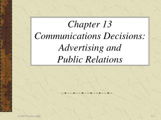 Chapter 13  Communications Decisions: Advertising and  Public Relations