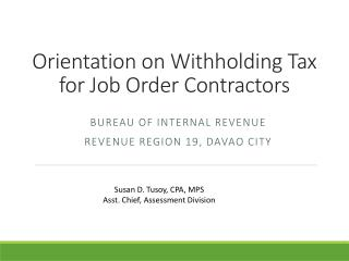 Orientation on Withholding Tax for Job Order Contractors