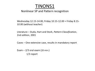 TINONS1 Nonlinear SP and Pattern  recognition