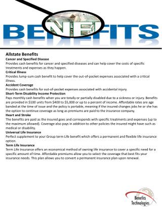 Allstate Benefits Cancer and Specified Disease