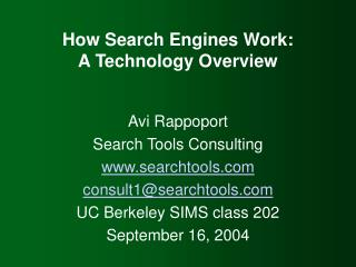 How Search Engines Work: A Technology Overview