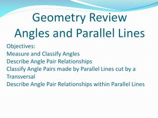 Geometry Review Angles and Parallel  Lines