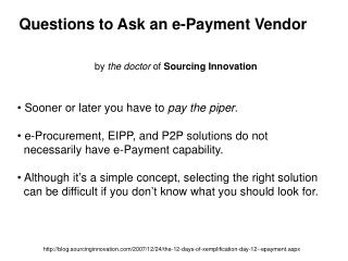Questions to Ask an e-Payment Vendor