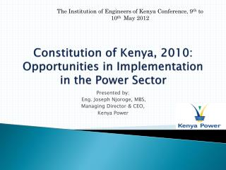 Constitution of Kenya, 2010: Opportunities in Implementation in the Power Sector