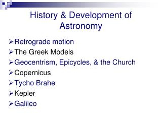History & Development of Astronomy