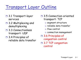Transport Layer Outline