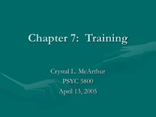 Chapter 7:  Training