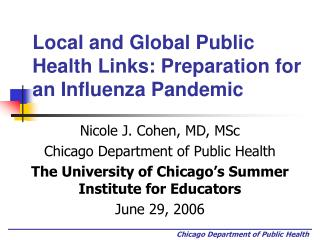 Local and Global Public Health Links: Preparation for an Influenza Pandemic