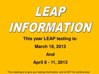 LEAP INFORMATION