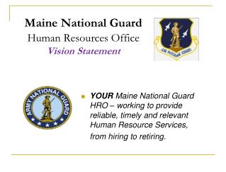 Maine National Guard Human Resources Office Vision Statement