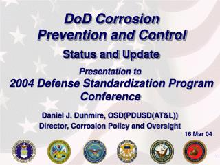 DoD Corrosion  Prevention and Control Status and Update