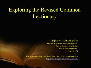 Exploring the Revised Common Lectionary